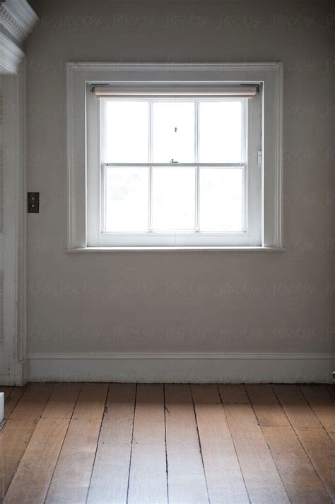 square window empty room interior wooden floorboards