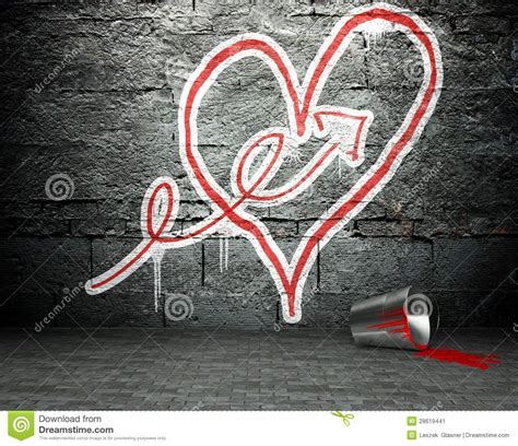graffiti wall  arrow  heart sign street background
