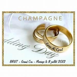Etiquette Champagne Mariage : etiquette personnalis e pour une bouteille de champagne ou mousseux ~ Teatrodelosmanantiales.com Idées de Décoration