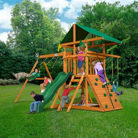 Backyard Play Set by Gorilla Outing Iii Cedar Outdoor Playset Swing