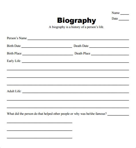 fill   blank bio templates  writing