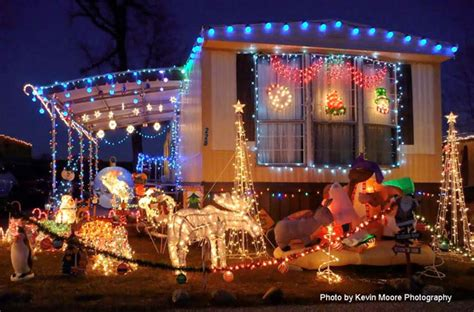 houses decorated with christmas lights