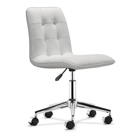 white office desk chair shop zuo modern scout white faux leather task office chair