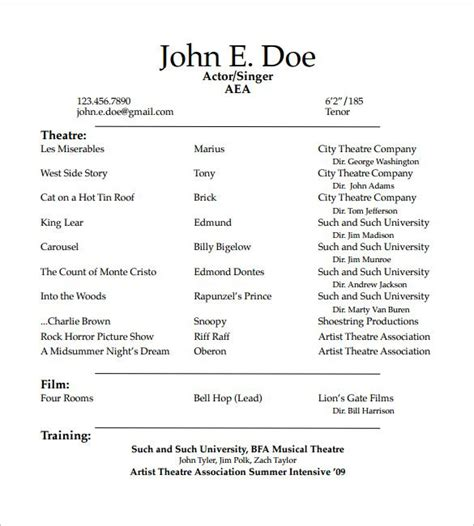 Theater Resume Exle by Student Actor Resume Template How To Create A