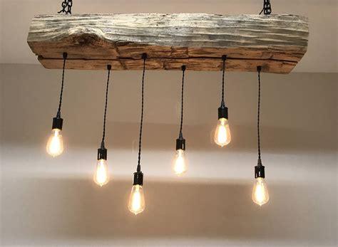 reclaimed barn sleeper beam wood light fixture with led