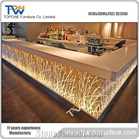shape factory supply led bar counter  solid surface