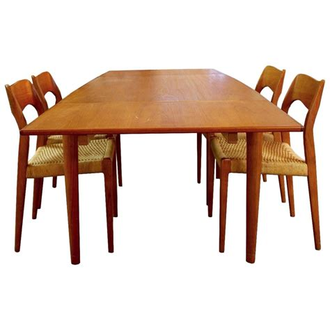 dining room table 4 chairs mid century modern danish teak niels moller expandable