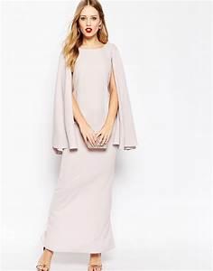 robe longue gris poudre avec cape pour mariage ou grande With robe longue avec cape