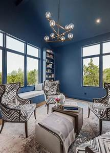 Bold, Blue, Transitional, Living, Room