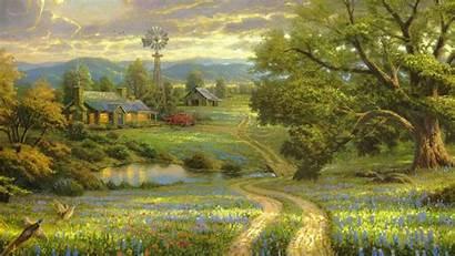 Country Desktop Backgrounds Landscape Village Painting Road