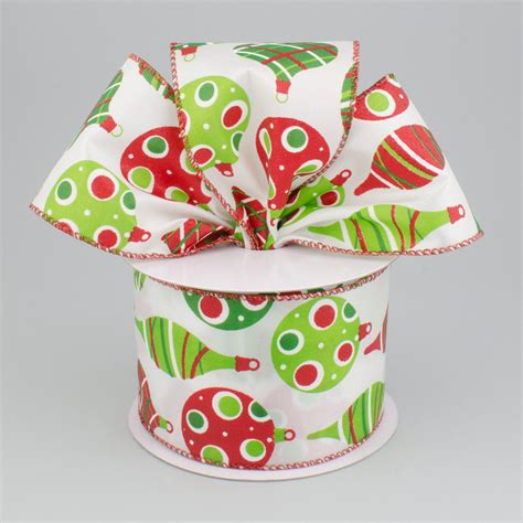 2 5 quot christmas ornament ribbon white lime green and red