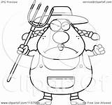 Farmer Female Clipart Cartoon Coloring Plump Pitchfork Cory Thoman Outlined Vector 2021 sketch template