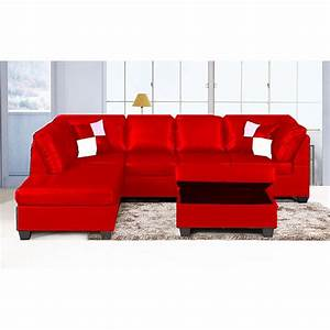 jingo faux leather orange red 3 piece sectional sofa set With red faux leather sectional sofa