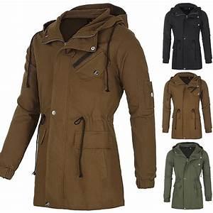 2016 SALE~ XS-XXL Men's Winter Trench Coat Hooded Jacket ...