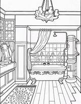 Coloring Bathroom Victorian Pages Adult Colouring Drawing Furniture Houses Modern Clean Sheet Printable Books Sheets Room Interior Homes Line Taylor sketch template