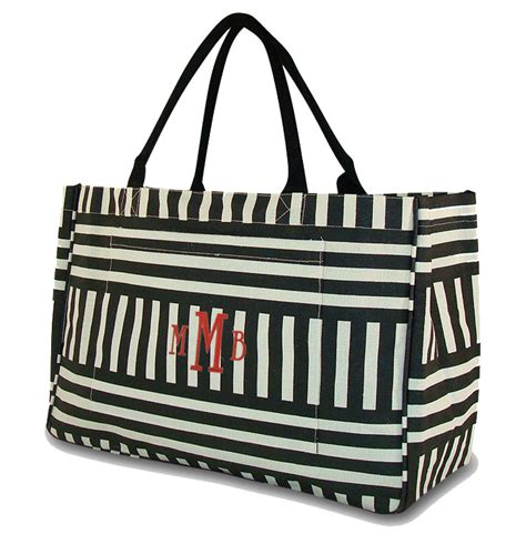 jute black white stripe beach bag