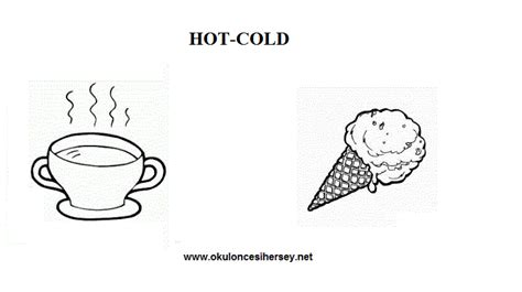 pre school education 156 | hot and cold opposite words worksheets for preschool children