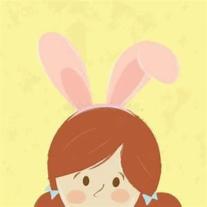 Cute Girl Ware Bunny Rabbit Ears. Stock Vector ...