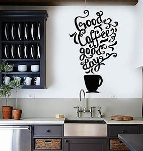 Vinyl wall decal quote coffee kitchen shop restaurant cafe for What kind of paint to use on kitchen cabinets for giant wall art stickers