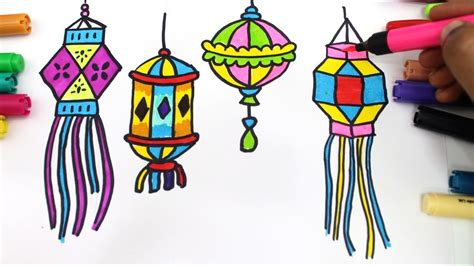 draw colourful diya  lantern  diwali wishes