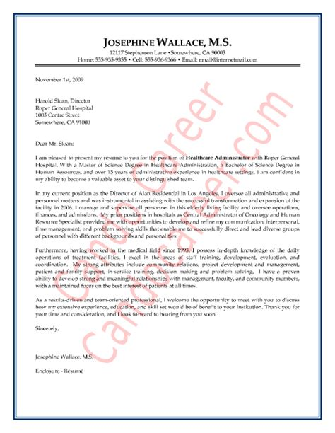 healthcare administration cover letter sample