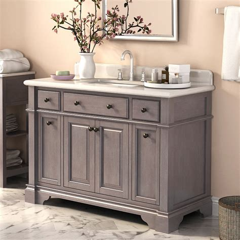 abel 48 inch rustic single sink bathroom vanity marble top