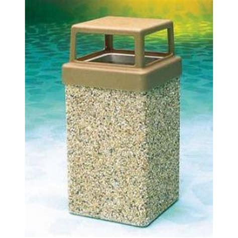 trash receptacle 9 gallon concrete 4 way open top