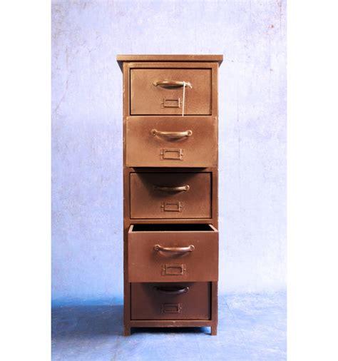 meuble colonne 5 tiroirs en acier vintage industriel
