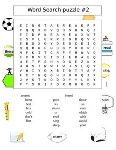 second grade sight words word search puzzles 2 puzzles