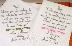 mom dad embroidered wedding hankerchiefs handkerchiefs With mom gifts for wedding