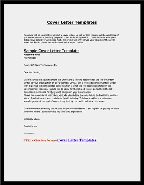 template for cover letter email cover letter templates