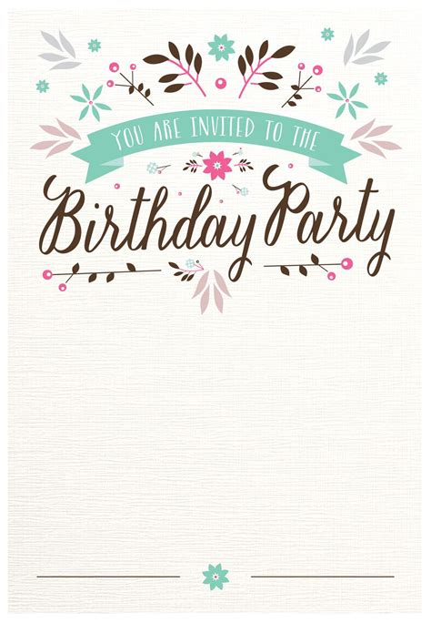 flat floral  printable birthday invitation template