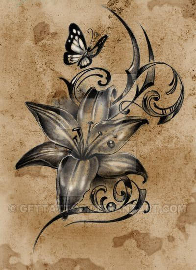 lovely lilly flower  butterfly tattoo design tattoos