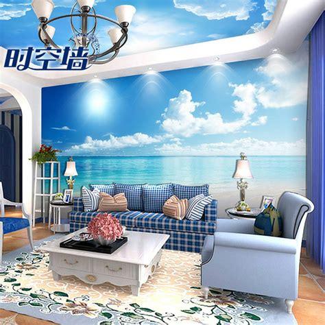 jual wallpaper dinding custom motif awan langit dan laut