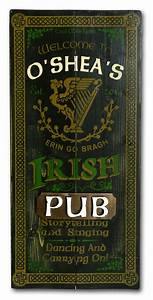 Old Irish Pub sign - Vintage Wood Plank Sign - Gift for an