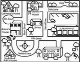 Map Neighborhood Maps Directions Street Teaching Activities Following Direction Coloring Social Drawing Studies Community Worksheet Skills Worksheets Kindergarten Simple Draw sketch template