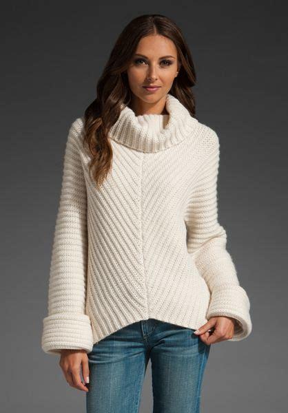 white cowl neck sweater adam cowl neck sweater in white lyst
