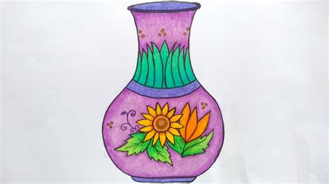 menggambar vas bunga menggambar guci belajar