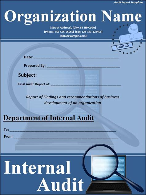 sample printable audit report template