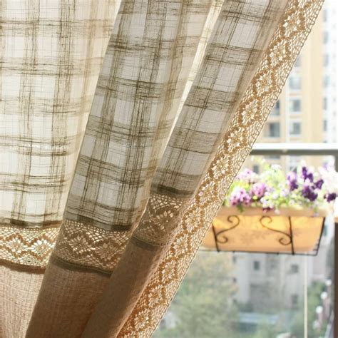 Country Drapes - 1 pc country window curtain drapes cotton linen