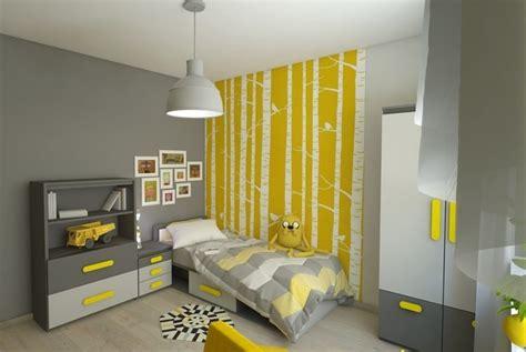 chambre fille jaune déco murale chambre enfant papier peint stickers