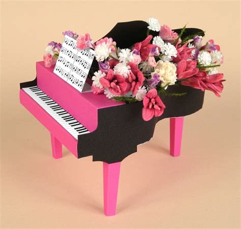 A4 Card Making Templates For 3d Grand Piano & Display Box