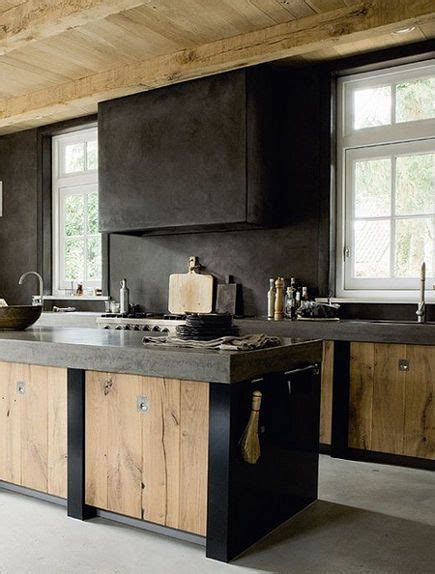 modern dutch kitchen  weathered wood cabinet doors