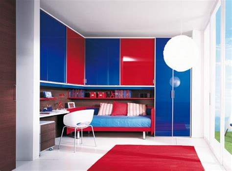 majestic kids room  blue  red cabinet color white