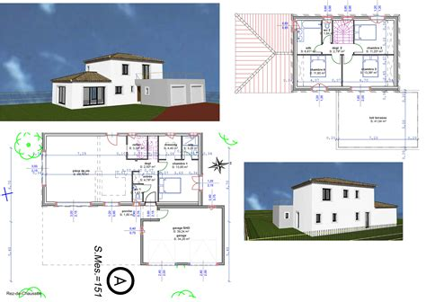 plan maison en l avec etage partiel