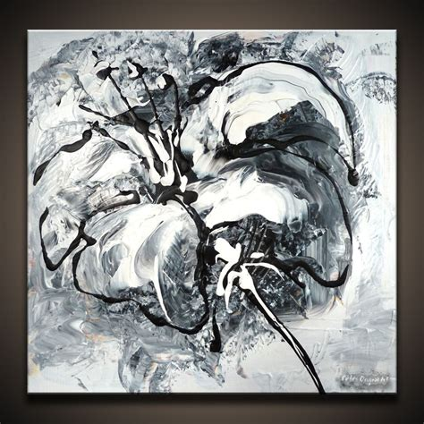 Abstract Black Flower Painting by Black And White Abstract Paintings By Dranitsin