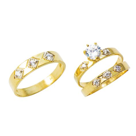 14k yellow gold cz engagement wedding trio ring 1 0 cttw ebay