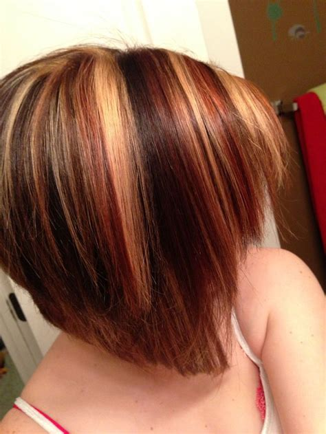 short bob  red highlights  gallery images