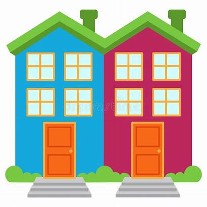 Detached Semi Houses Vector Brightly Colored Illustration