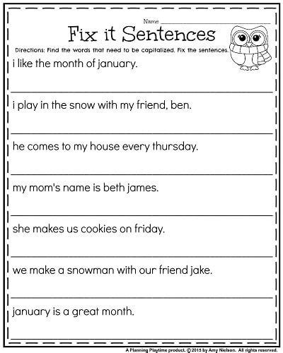 1st grade worksheets for january punctuation 1st grade